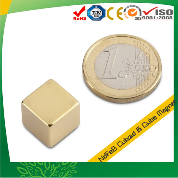 12mm Neodymium Cube Magnets w Au Coating