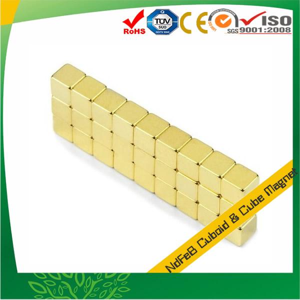 Au Plated Neodymium Cube Permanent Magnet