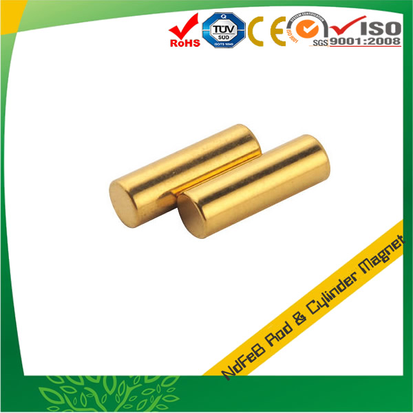 Golden Coating Rod Neodymium Magnet