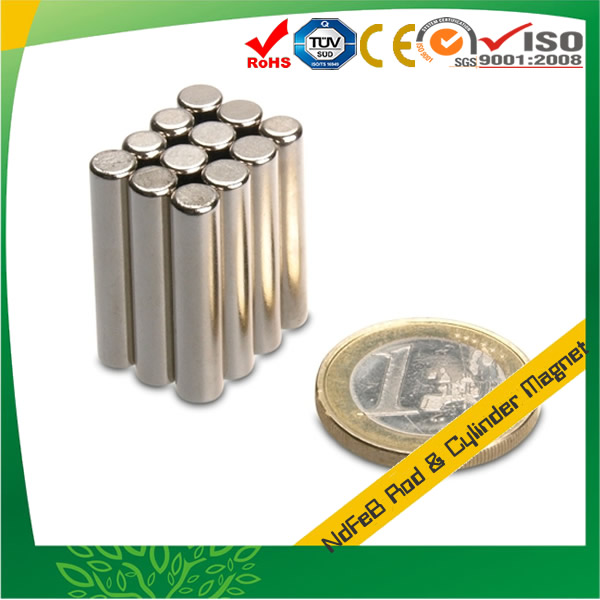 Neodymium Rod Magnet w Nickel Coating