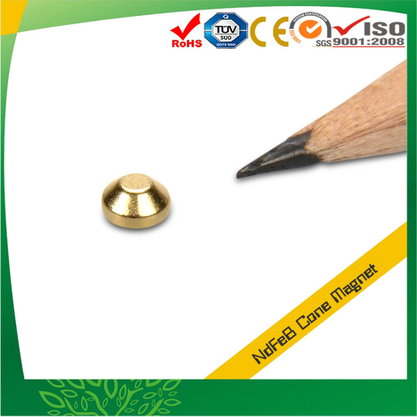 Gold Plated Cone NdFeB Magnet