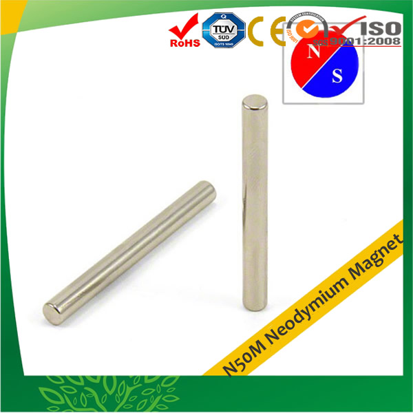 N50M Diametral Long Rod Neodymium Magnet