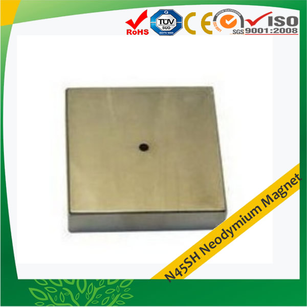 N45SH Neodymium Block Motor Magnet with Hole