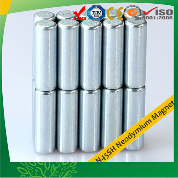 N45SH Zinc Plating Cylindrical Magnets, High Strength Cylinder Magnets, N45SH Neodymium Magnet, Zinc Plating NdFeB Rod Magnet, Sintered Neodymium-Iron-Boron Cylindrical Magnet China Supplier