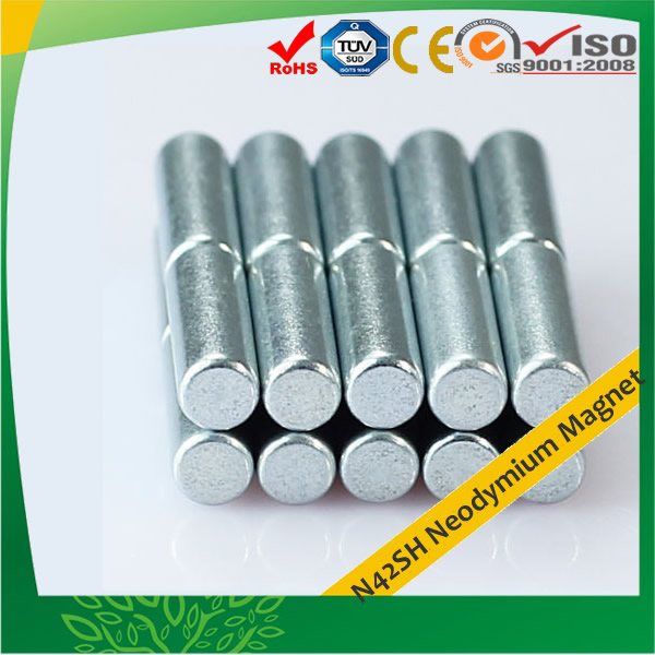 Rare Earth Rod Magnets N42SH Zn Plated