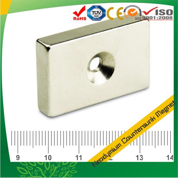 Neodymium Rectangular Countersunk Magnet