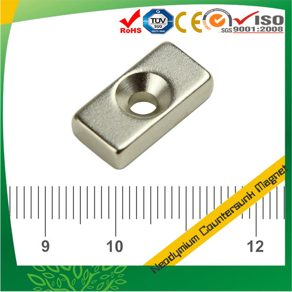 Powerful NdFeB Countersunk Block Magnet