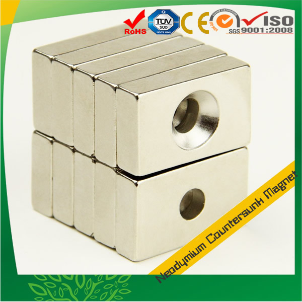 Sintered NEO Countersunk Block Magnet