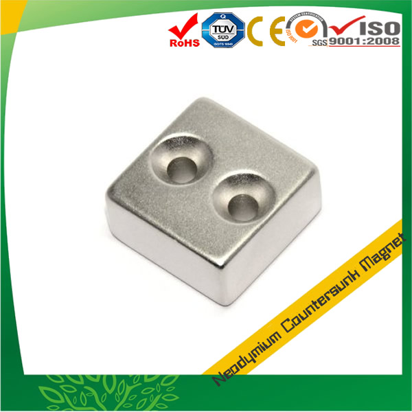 Sintered NdFeB Block with Countersink Hole