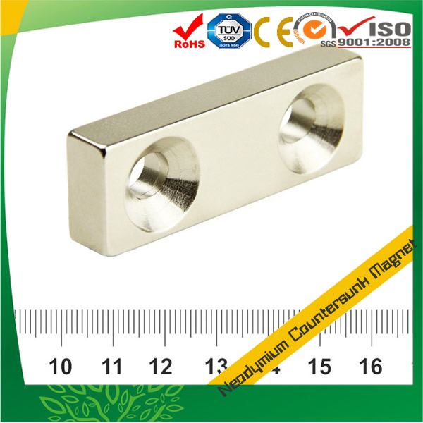 Sintered Neodymium Countersunk Rectangle Magnet w 2 Holes