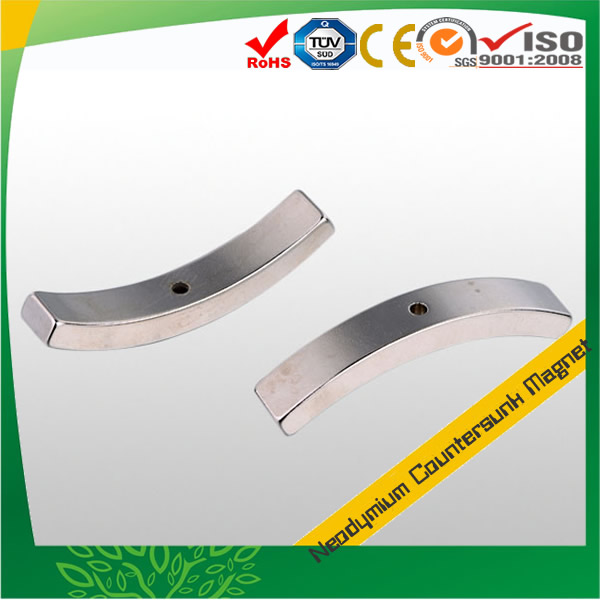 Arc Shaped Countersink Neodymium Magnet