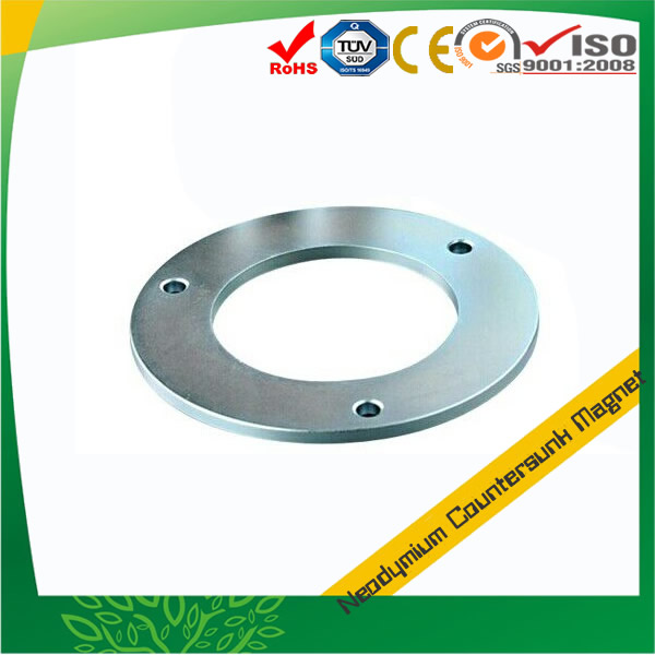 Zn Coating Sintered NdFeB Ring with 3 Countersink Holes